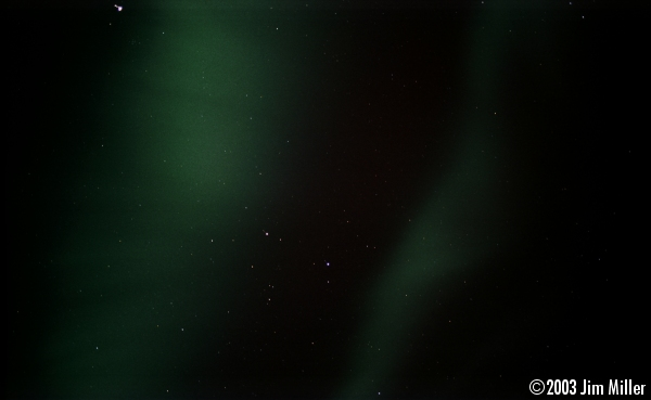 Northern Lights (Aurora Borealis) © 2003 Jim Miller - Canon Elan 7e, Canon 50mm Macro f2.5, Fuji Superia 100